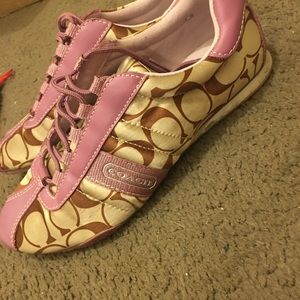 Pink and tan coach Kirby shoes